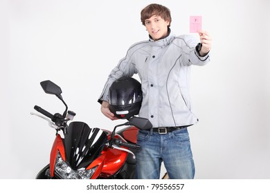 Young person with motorbike license