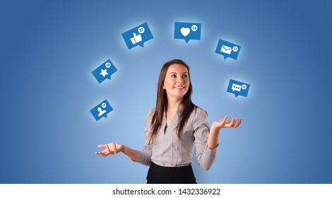 Young person playing with social media symbols