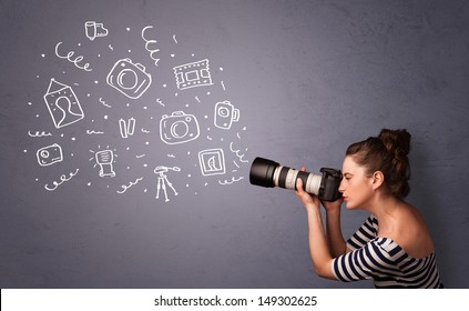 Young photographer girl shooting photography icons