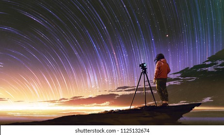 young photographer taking picture of sunrise sky with star trails, digital art style, illustration painting
