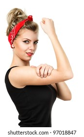 Young pin-up blonde woman like classic We Can Do It poster isolated over white background