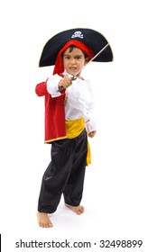 Young Pirate on white background .