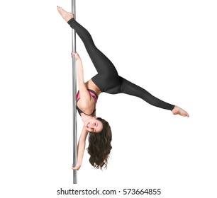 Young pole dancer on white background