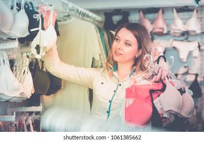4820ea8dd4bb Portrait Pretty Woman Buying Bras Shopping Stock Photo (Edit Now ...