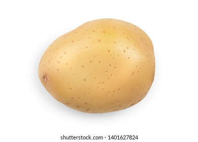 Young potato isolated on white background. Harvest new. Top view. Flat lay