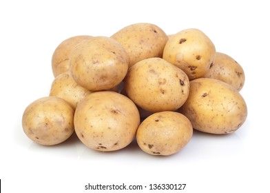 young potatoes on white