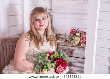 Young pregnant bride consider