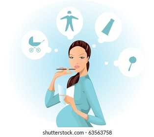 a young pregnant woman composes a list of needed items for a newborn