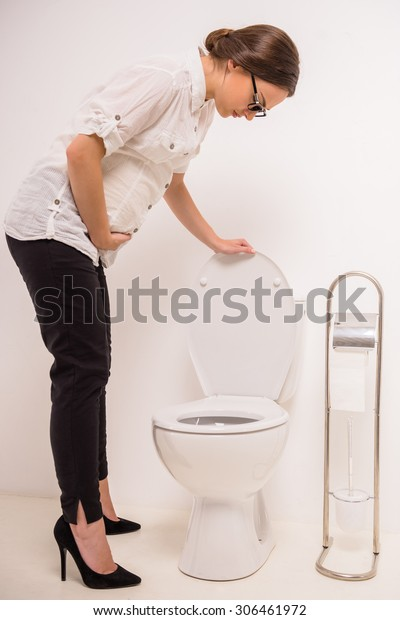 Miraculous Young Pregnant Woman Use Toilet Isolated Stock Photo Edit Gmtry Best Dining Table And Chair Ideas Images Gmtryco