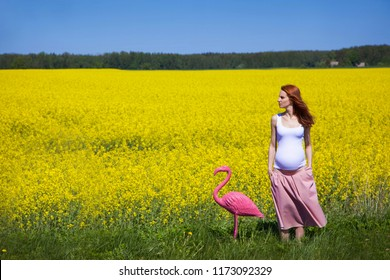 young pregnant woman walking with flamingo