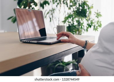 Young pregnant woman is working on laptop at her home