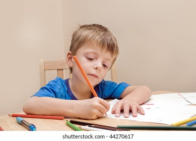 Young pre-school concentrates while he colours a picture.
