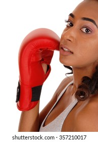 A young pretty African American woman in a closeup image, wearing red