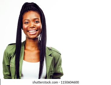 young pretty african-american girl posing cheerful emotional