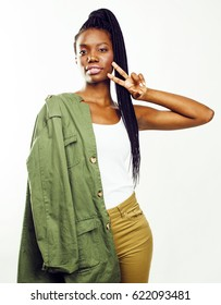 young pretty african-american girl posing cheerful emotional on white background isolated, lifestyle people concept