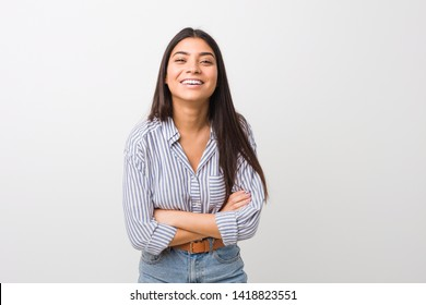 Young pretty arab woman laughing and having fun.