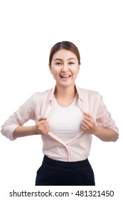 Young pretty asian woman opening her shirt like a superhero isolated on white.