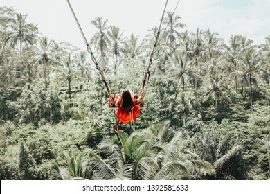 Young pretty Asian woman is swinging on the cliff of the jungle in Ubud, Bali.