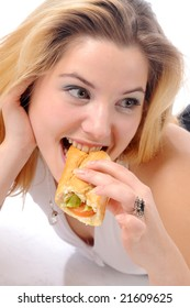 An young pretty and attractive girl eating