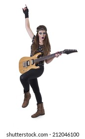 Young pretty blond rocker girl playing electric guitar gesturing rock on isolated on white