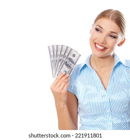 Young pretty blond woman smiling while holding six American hundred-dollar bills  concept of profit and earnings  with copy space on white