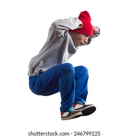 Young pretty boy dancer in jump isolated on white