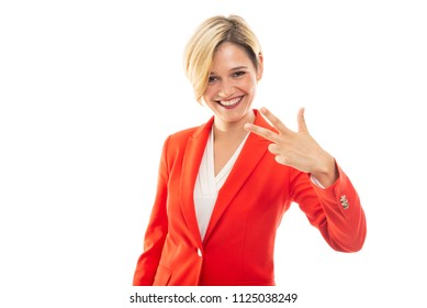 Young pretty business woman showing number three gesture on black background with copypsace advertising area