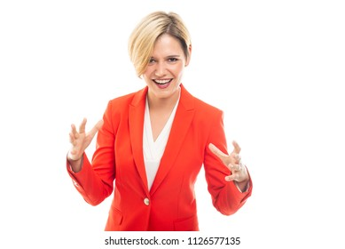 Young pretty business woman showing screaming gesture isolated on white background with copyspace advertising area