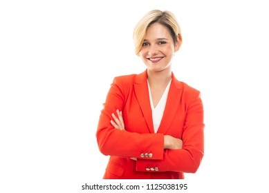 Young pretty business woman standing with arms crossed and smiling isolated on white background with copyspace advertising area
