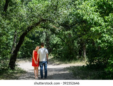 young pretty couple in the green summer park walking