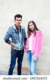 young pretty couple of student boy and girl together outside happy smiling, lifestyle people concept
