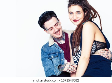 young pretty couple together, lifestyle people concept, boyfriend and girlfriend tattoo