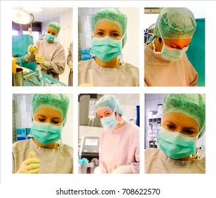 Young pretty doctor oncologist plastic prepares for operation on lipofilling of female breast after removal of cancer tumor