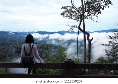 Young pretty girl admiring the view of the sea of fog, View from the back.