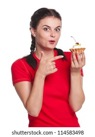 Young pretty girl with cake isolated on white background
