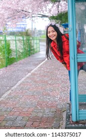 Young pretty girl in callbox at Jinhae cherry blossom festival in Jinhae city of South Korea on April 2018.