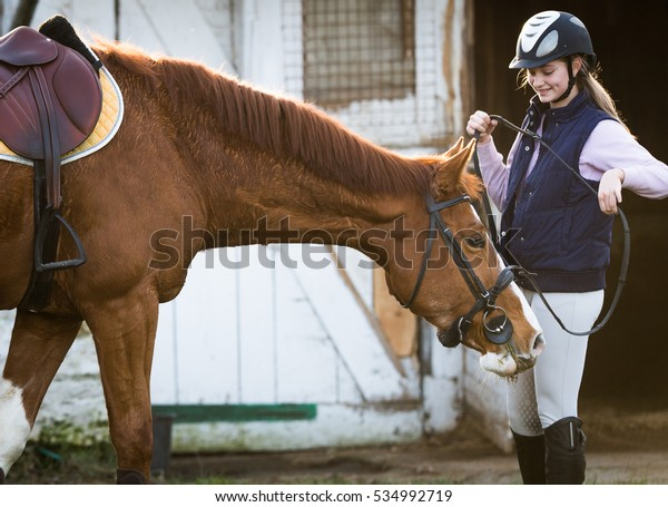 Young pretty girl preparing horse for ride