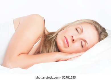 Young pretty girl sleeping on pillow. Sweet dreams