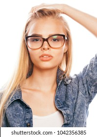 young pretty girl teenager in glasses on white isolated blond ha