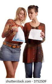 Young pretty girls with envelope in hands