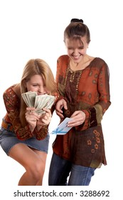 Young pretty girls with envelope and money in hands
