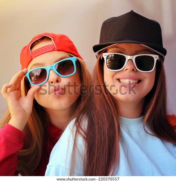 Young Pretty Girls Friends Having Fun Stock Photo Edit Now 220370557