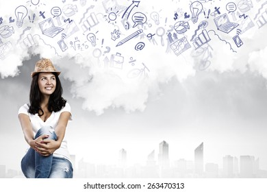Young pretty lady in casual dreaming about future