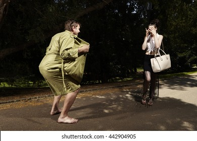 Young pretty lady harassed by pervert exhibitionist in coat