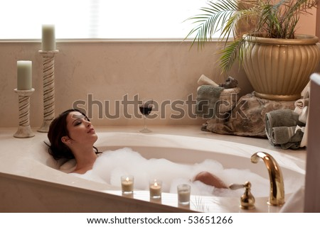 5880f5bec2 Young Pretty Lady Relaxing Bubble Bath Stock Photo (Edit Now ...
