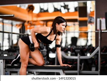 young pretty slim woman in sportswear hold dumbbells in gym interior