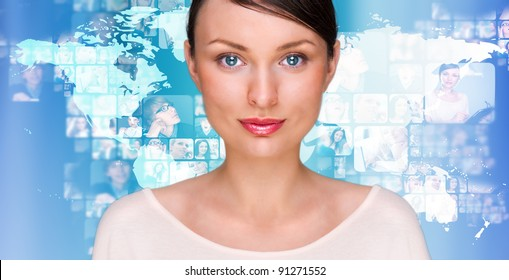 A young pretty woman against world map on background with many different people's faces. Can represent a technology social network of friends and communication.