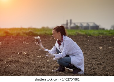Young pretty woman agronomist checking soil quality on field