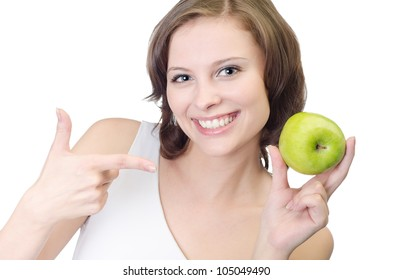 Young pretty woman with apple, isolated