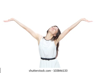 Young pretty woman with arms open feeling freedom and happiness isolated on a white background